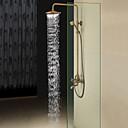 Antikni Sustav za tuširanje Tuš s kišnim mlazom Tuš uključen with  Keramičke ventila Dvije ručke tri rupe for  Antique Brass , Slavina za