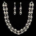 bílá perla dvoudílný zářící šperky dámské sadu (45 cm)