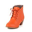 女性-カジュアル-レザーレット-チャンキーヒール-ファッションブーツブラック / ブラウン / ベージュ / オレンジ