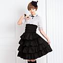 スカート クラシック/伝統的なロリータ ロリータ コスプレ ロリータドレス ブラック ゼブラプリント 五分袖 ミドル丈 スカート のために 女性 コットン