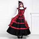 rukava do poda, crvena i crna pamučna Victoria Gothic Lolita stil haljina