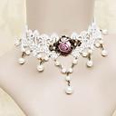 Ručno bijele čipke Fuksija Rose Princess Lolita ogrlica s biserima