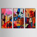 Ručně malované Abstraktní Krajina Abstraktní krajinka Horizontálně,Klasický Tradiční Tři panely Hang-malované olejomalba For Home dekorace