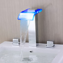 現代風 ローマンバスタブ LED / 滝状吐水タイプ with  セラミックバルブ 二つのハンドル三穴 for  クロム , 浴槽用水栓
