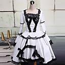 Jednodílné/Šaty Gothic Lolita Lolita Cosplay Lolita šaty Bílá / Černá Patchwork / Barevné bloky Dlouhé rukávy Medium LengthŠaty /