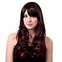 キャップレスロング高品質合成栗茶色ウェービーヘアウィッグサイドバング