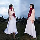 Inspirovaný Attack on Titan Mikasa Ackermann Anime Cosplay kostýmy Cosplay šaty Jednobarevné Biały / RůžováKabát / K šatům / šála či