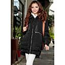 Isabella_ Kvalitetni Puna boja Big Size podstavljena pamuk kaput (crni)