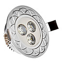 3W 3xHigh Snaga 285LM 6000-6200K Cool White Light LED Ugradna Down Light - Silver Cover (85-265V)
