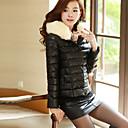 Meikepam毛皮の襟フード付きショートコットン(ブラック)