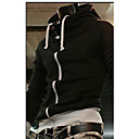 Haobaコントラストカラーハイネックフード付きコート(ブラック)