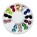 24ks 12-Color Glitter Oval kamínky Nail Art Dekorace