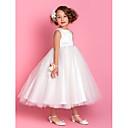 Lanting nevjesta ® a-linije / princeza čaj duljine cvijet girl haljina - saten / tila dragulj rukava s različiti predmeti / izvlačenja