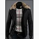 ZHELINMan暖かい毛皮の襟コートショートシングルブレストコート