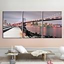 Rastegnut Canvas Art Pejzaž Manhattan Bridgel Set od 3