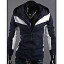 Kaidi Casual kontrast boja Double Zipper Hoodie (Navy Blue)