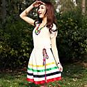 Ženska Proljeće UZROČNI Stripes kontrast boja haljina s ogrlicom