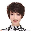 Side Šiške bez poklopca Kratak Kovrčava 100% ljudske kose perika (tamno smeđe)