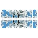 12PCS Snow Road Home Světelné Nail Art Samolepky