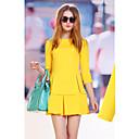 WeiMeiJia Dámská Simple Solid Color Slim šaty (žlutá)