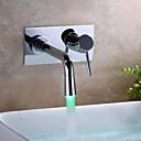 Současné Nástěnná montáž LED with  Keramický ventil Single Handle jeden otvor for  Pochromovaný , Koupelna Umyvadlová baterie