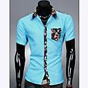 男性用 プリント カジュアル シャツ,半袖 コットン混 ブラック / ブルー / ホワイト / イエロー