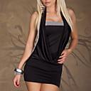 Wanmei Ženska Seksi Solid boja crna haljina