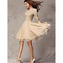 SEXYLADY Ženska Slim tri četvrt rukava Čipka Splice šifon haljina (badema)