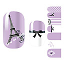 28PCS Purple Romantická Paříž designu Nail Art Samolepky