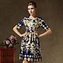 Moda Okrugli Vintage Palace Luxury Ispis Dress