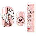 28PCS Pink Romantická Paříž designu Nail Art Samolepky