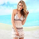 Women's Keep Sweet Lace Halter Multi-pieces Bikinis Swimwear Set