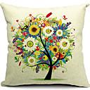 花柄の木綿/リネン装飾枕カバー