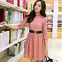 Ženska okrugli ovratnik Pink Roupas Femininas Čipka Plus Veličine Pola rukav Mini Dress