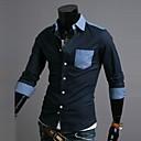 zian® pánské košile límec móda denim v kontrastní barvě business casual košile s dlouhým rukávem o