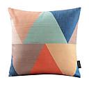 mult-barevný trojúhelník spojený bavlna / len dekorativní polštář