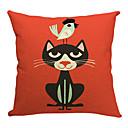 černá kočka a pták bavlna / len dekorativní polštář