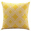 黄色のひし形コットン/リネン装飾枕カバー