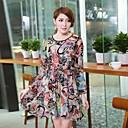 Women'S Printed Long Sleeve Chiffon Dress
