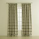 twopages® dva panely tisk kostkovanou polyester pokoj setmělou oponu