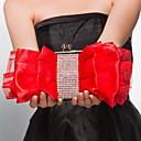 Žene - Večernja torbica - Saten Badem / Crna / Tamno crvena / Crvena
