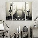 霧の中のキャンバスプリントアートアーキテクチャBirdgeは3個セット
