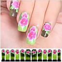 個入りピンクの花緑の透かしネイルアートステッカーc6-010