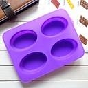 4 rupe elipsa oblika kolač kalup leda Jelly čokolade plijesni, silikon 22,3 × 17 × 2 cm (8,8 × 6,7 × 0,8 inča)