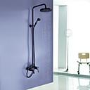 アンティーク調 シャワーシステム レインシャワー ハンドシャワーは含まれている with  セラミックバルブ シングルハンドル三穴 for  オイルブロンズ , シャワー水栓
