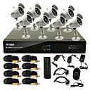 8 kanálový CCTV DVR systém(8 outdoor voděodolných kamer,PTZ Control)