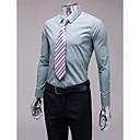 グレーのスリムフィット長袖シャツ