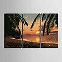 e-HOME® beach sunset scenérie hodiny v plátěných 3ks