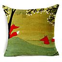 country stilu Fox i drvo uzorak pamuka / lana dekorativne jastučnicu