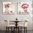 E-home® pruži platnu si vaze i cvijeće dekorativno slikarstvo set 2